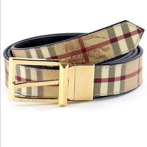 Authentic Burberry Haymarket Check Reversible Belt